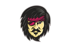 Corsair With Eye Patch Mascot