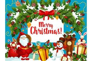 Christmas Santa gifts wreath