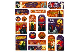 Halloween pumpkin monster tags