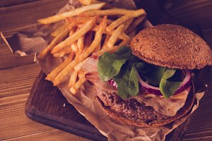 Burger and french fries close up