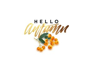 Hello Autumn, golden text
