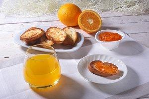 Morning Breakfast set with orange