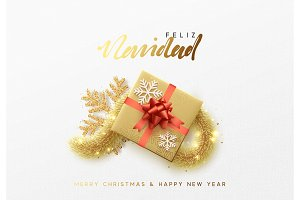 Feliz Navidad. Merry Christmas Spanish text lettering ...