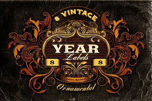 8 Vintage Year Labels
