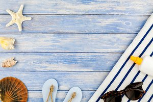 Top view concept of summer travel va