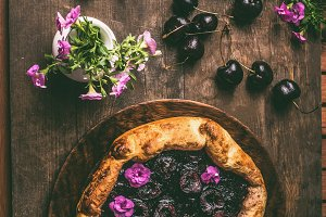 Homemade open cherry pie or galette