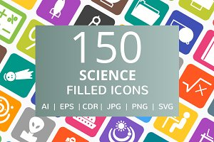150 Science Filled Icons