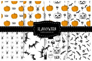 Halloween. Set of seamless patterns