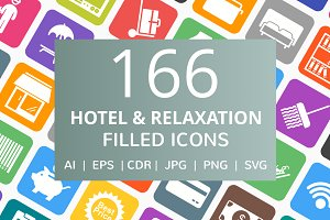 166 Hotel & Relaxation Filled Icons
