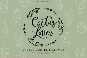 Cactus Lover quotes clipart svg