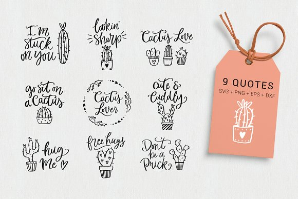 Cactus Lover Quotes Clipart Svg Illustrations Creative Market