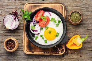 Tasty food fried egg