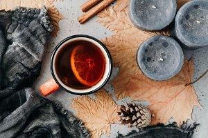 Autumn season tea with cinnamon