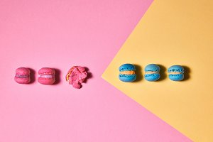 Row of different macaroons on a
