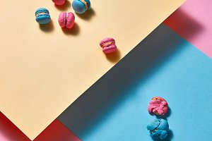 composition of colorful macaroons on