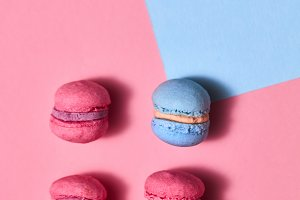 Set of three pink and blue macaroons