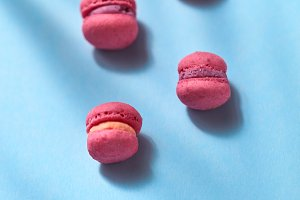 Composition of pink colored macaroon
