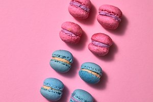 Multicolored macaroons in a row on