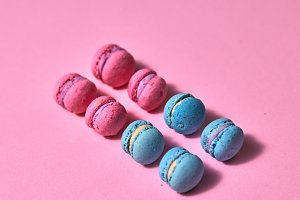 Beautiful variety of macaroons in a