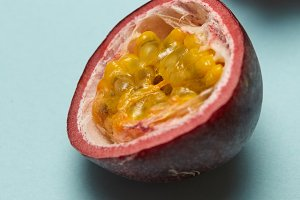 Half of passion fruit with litchi