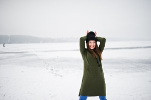 Funny girl wear on long green sweats