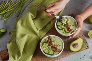 Green smoothie bowl with avocado