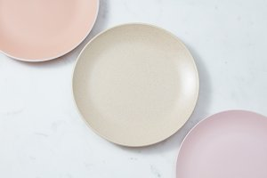 Handcrafted clay empty plates