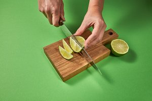 Slices of natural organic green lime