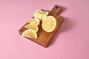 Juicy yellow slices of ripe lemon -