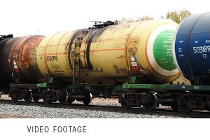 Freight train passing by slowly