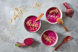 Healthy breakfast bowl with beetroot