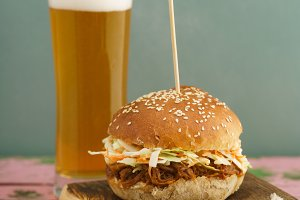 Pulled pork burger with beer on