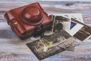 Vintage camera and photos