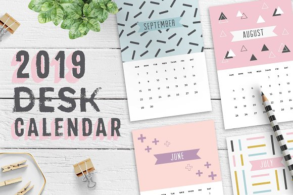 2019 desk calendar template stationery templates creative market