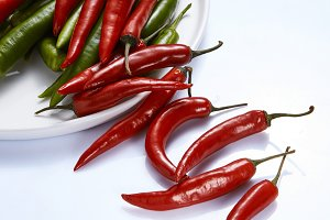 Hot chili pepper green and red in a