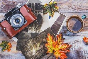 Vintage camera and photos