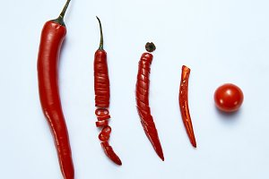 sliced chilli cayenne pepper with