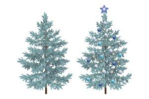 Christmas spruce fir trees with