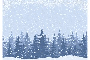 Winter landscape with fir trees and
