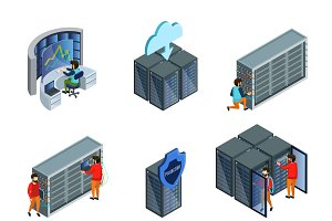 Isometric Datacenter Elements Set