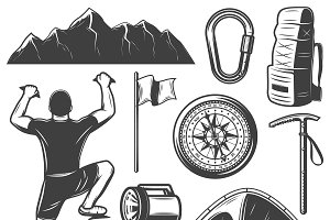 Vintage Mountain Climbing Icons Set