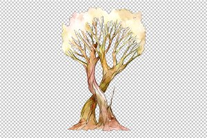 Aquarelle two light brown trees PNG