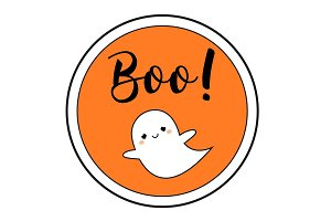Halloween sticker with cute ghost
