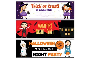 Kids Halloween party banners