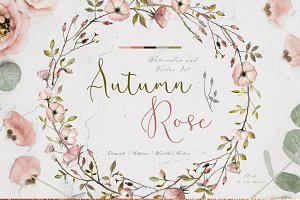 Autumn Rose Watercolor Set