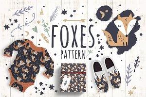 Cute foxes pattern clip art