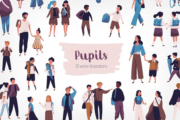 Illustrations and Illustration Products: Good_Studio - Crowd of pupils and students
