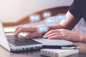Woman using laptop. Social, media, M
