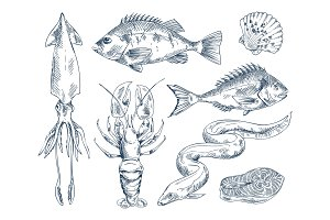 Monochrome Icon Set for Seafood