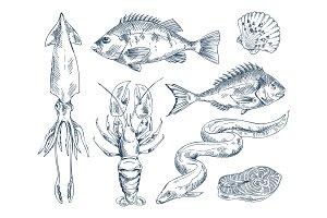 Monochrome Icon Set for Seafood